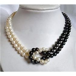 Lovely Multistrand 7-8mm White & Black Akoya Cultured P