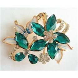 SWAROVSKI CRYSTAL GOLD FLOWER BUTTERFLY PIN BROOCH