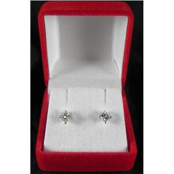 .66 Carat Princess Cut 14K White Gold Diamond Earrings