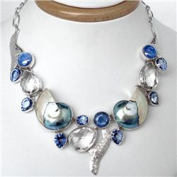 Superb ARTISAN BLUE NAUTILUS SHELL KYANITE TOPAZ AND ST