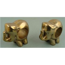 2 Brass Elephant Figure Napkin Rings Holders Tableware