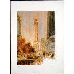 Chicago Water Tower Signed Art Print Lotts