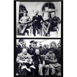 2 Photos Big Meeting WWII Stalin, Roosevelt, Churchill