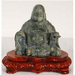 Jade Stone Carved Buddha on Wooden Stand