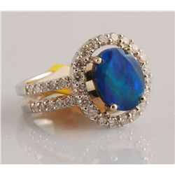 2.34ct - Opal Doublet and Diamond Ring