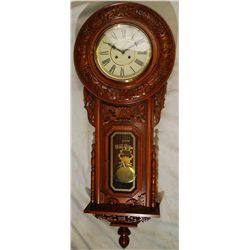 Vintage Regulator Wooden Hanging Clock