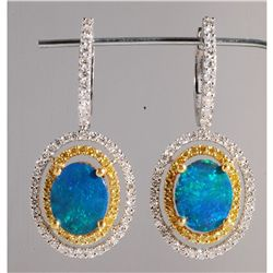 1.32ct Opal and Diamond Earrings