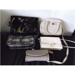5 Ladies Hand Bags 1-Black Patient Leather 1-Beige Via Prima (New), 1-Beige Clutch,1- new Plaid blac