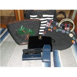 5 Ladies Hand bags, 1-Plaid Tommy Hilfiger 1-Black Patient Anne Klein, 1-black cell phone case, 2- S