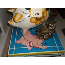 Piggy Bank & Owl & Approx 17 children's records records are from 1949 & up