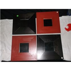 "4 Decorative Wall Mirrors 2 Red and 2 Black 10"" x 10"" Frame mirror measures 3.5"" x 3.5"""