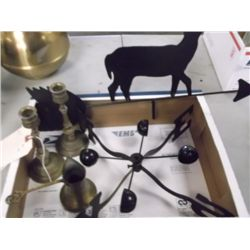 Brass Candle Holders, Deer Weather Vain Brass Creamer