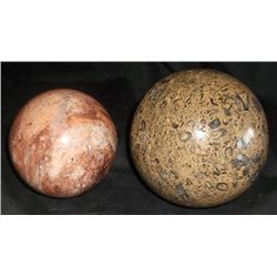 2-Onyx and Marble Balls Desk top paper weights