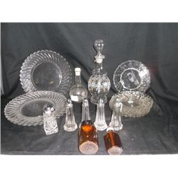 19 Misc. Glassware Plates, Salt and Pepper, Medicine Bottles, Decanters, Ect.
