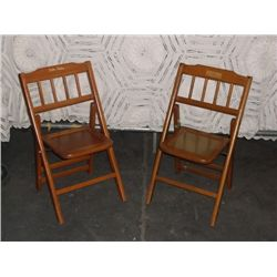 "2 Babee Tenda All Purpose Folding Chairs they are child sized and fold up approx 14.5"" wide X 12"" de"