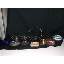 12 Misc. Silverplated & Porcelain Items Creamer and Sugar, Ashtrays, Candy Dishes, Etc.