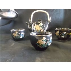 Oriental Porcelain Tea Pot Set 3 cups & teapot