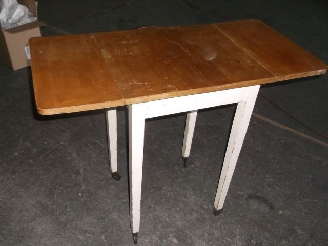 Small drop leaf kitchen table on wheels approx 37 1 2 x for Small tall kitchen table