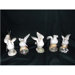 5 Ceramic Doves Made in Japan