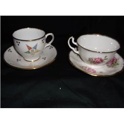 2 Cups & Saucers 1- Bone China Taylor & Kent Eastern Star. 1- Adderley Cup And Saucer
