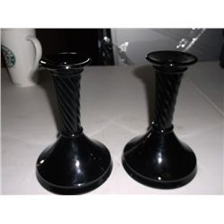 "Pair of Vintage Black Candle sticks 6 1/2"" Tall"