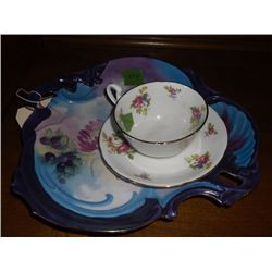 Cup & Saucer set & a decorative plate purple-edged decorated porcelain plate, flowers and berries de