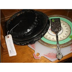 """Chinese Display Stands, server, and plates 2 carved wooden Chinese display stands one is 12"""" the oth"""