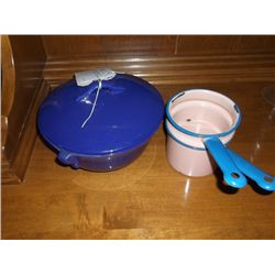 Blue GMB Casserole Dish, & Double Broiler Small Chip on Lid, Pink & Blue Enamel Ware Double Boiler