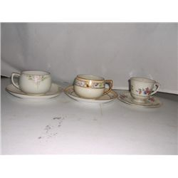 3 Porcelain China Cups & Saucers