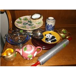 Chinese wooden display stand, plates, tea kettles silverplated tongs / salad servers Approx. 11 1/2""