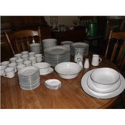Noritake China Set Reina pattern 12 place setting marked on the bottom 6450Q they are white with a l