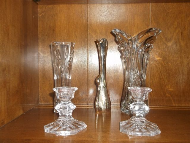 3 Vases And 2 Candle Holders One 7swan Vase 2 Crystal Vases One 8