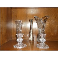 "3 Vases and 2 candle holders one 7""swan vase, 2 crystal vases one 8"" and one 7"" and press glass cand"