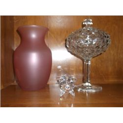 "pink satin vase 8"" Lidded candy dish 9"" and a crystal cut pig 2"""