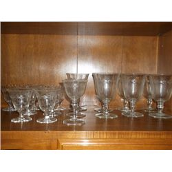 Crystal stem glasses with etched flowers 16 pieces total, 7 Red Wine lasses 9 cordial glasse