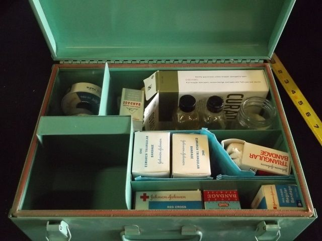 vintage first aid kit green with 1st aid items