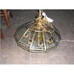 Elect. Chandelier chandelier is ready to hook up to electricity it is glass with gold trim
