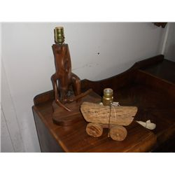 "2 Vintage Table lamps Cholla cactus wagon table lamp Approx 7"" tall x 8"" long  and a wooden branch t"