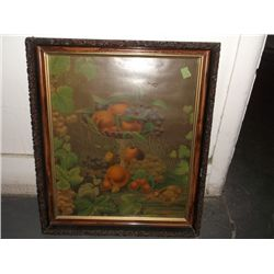 Antique Framed Lithograph Fruit Print in very nice ornate frame