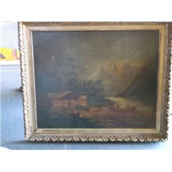 Oil on Canvas Very old oil painting has had some repair