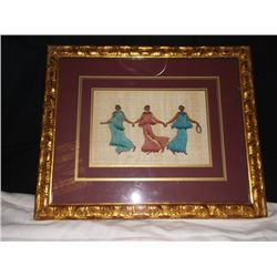 Signed lithograph of Greek Dancers Matted and Framed 23 inches by 18 1/2 inches