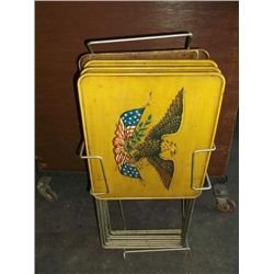 1950s Set of 4 Vintage TV trays with stand