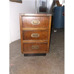 """3 drawer wooden file cabinet approx 20"""" tall 24"""" long 13"""" wide"""