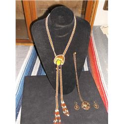 Copper Necklace & Earrings & A Beaded Necklace Indian Motif Bolo Tie or Necklace  Hand beaded Jewelr