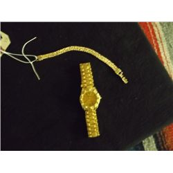 "Gold Color Costume Bracelet & Men's Watch The bracelet is approx. 7"" long, the watch is a Quartz and"