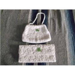"2 Vintage White Beaded Purses One has white pearl beads with a beaded handle approx 8"" x 6"" the othe"
