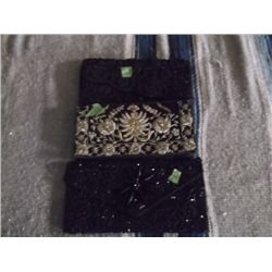 3 Vintage Black Clutch Purses One is made in India black satin with metallic thread embroidery flowe