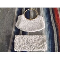 """2 Vintage White Beaded Purses One has a curved gold tone metal handle with pearl beads approx. 11"""" x"""