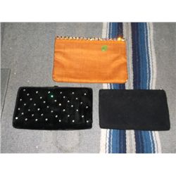 3 Vintage Small Clutch Purses 1 is beaded black, 1 is black velvet with rhinestones and has a small