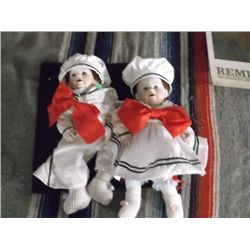 """2 Porcelain Sailor Twin Babies A Boy & a Girl approx 14"""" high their heads and hands are porcelain an"""